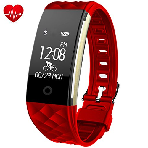 Fitness Tracker,Juboury Heart Rate Activity Tracker Touch Screen Wearable Pedometer Bluetooth Smart Wristand with Sleep Monitor,Steps Counter,Calories Track for Android and IOS Smart (Red Polyurethane Watch)