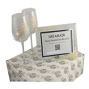 Champagne Glasses Photo Frame : Amazon.com 50th Golden Wedding Anniversary Wine Glasses ...