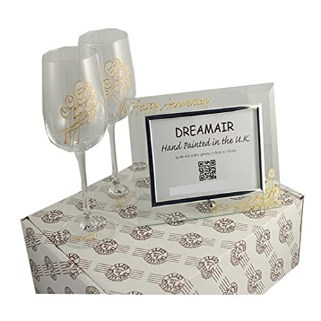 50th Golden Wedding Anniversary Wine Glasses And Photo Frame Gift Set