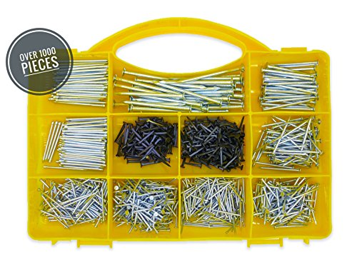 Cordless Nailer Box (Top Quality Nail Assortment Kit – Over a 1000 Multipurpose Hardware Nails - 11 Different Sizes – Non Bendable & Sturdy - Compact Organized Box (Over a 1000 Nails))