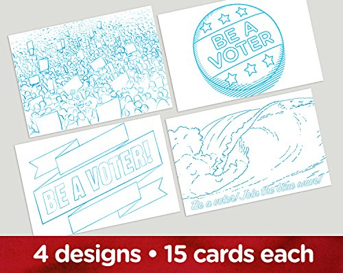 Coloring Book''Vote'' postcards. Four different images for getting out the vote and writing your reps. Set of 60. by Mary Likes Postcards
