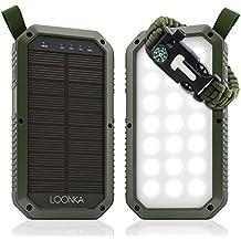Solar Charger 8000 mAh, 3 USB Ports for (Android, Samsung, iPhone, iPad), 21 LED Light Flashlight