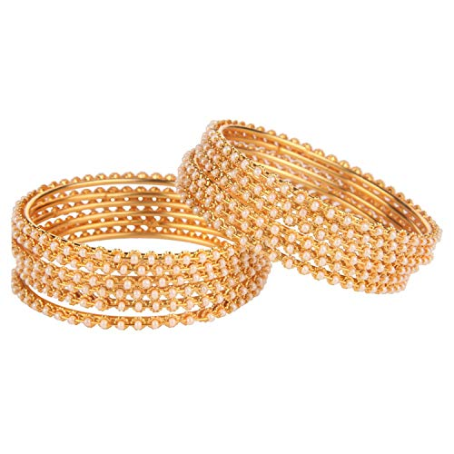 (Efulgenz Fashion Jewelry Indian Bollywood 14 K Gold Plated Faux Pearl Beads Bracelets Bangle Set (12 Pieces))