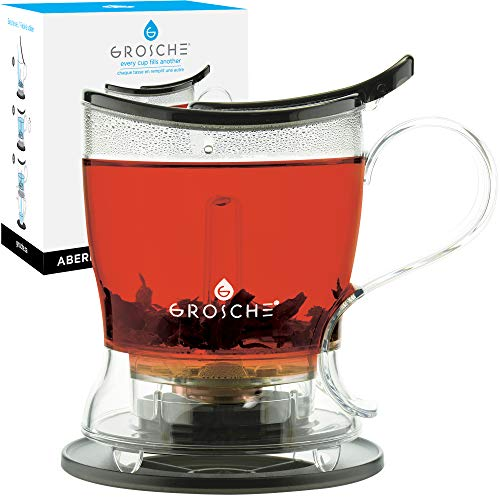 GROSCHE Aberdeen PERFECT TEA MAKER set with coaster, Tea Steeper, Teapot, Tea Infuser, 17.7 oz. 525 ml, EASY CLEAN Steeper, BPA-Free, BLACK Tea Pot