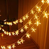 MZD8391 Star Curtain Icice LED String Lights Romantic Fairy Star Window Curtain Wedding Party Christmas Warm White Fairy Light [Total 80 Stars, 8 Icicle String]