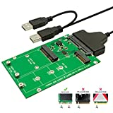QNINE M.2 or MSATA to USB or SATA 3.0 Adapter, 2-in-1 Converter Reader Card with Cable, Support Mini SATA or Ngff B Key SSD