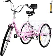 VEVOR Tricycle Adult 24'' Wheels Adult Tricycle 7-Speed 3 Wheel Bikes For Adults Three Wheel Bike For Adults A