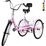 Bkisy Tricycle Adult 26'' 7-Speed 3 Wheel Bikes for Adults Three Wheel Bike for Adults Adult Trike Adult Folding Tricycle Foldable Adult Tricycle 3 Wheel Bike Trike for Adults