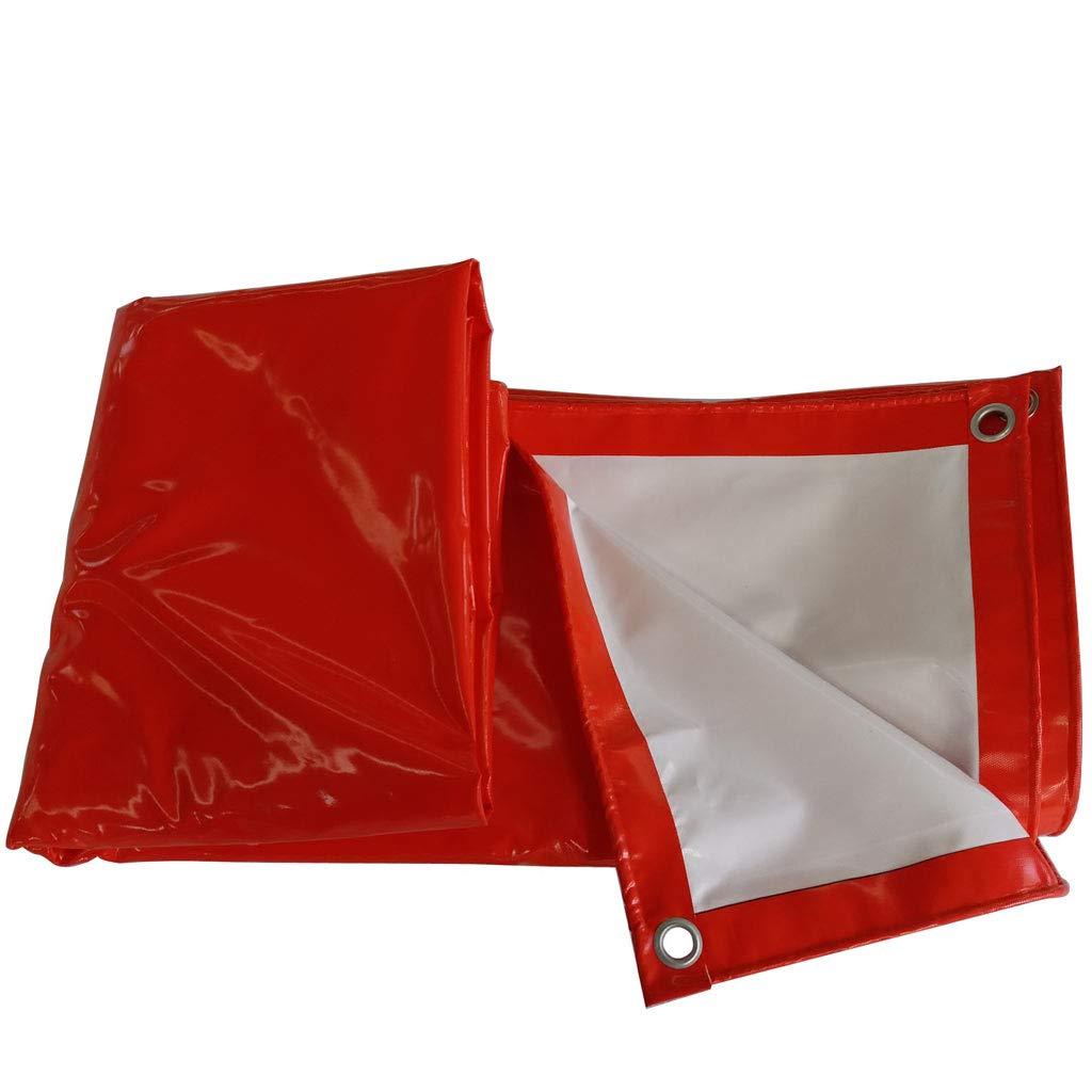 ZJ-ターポリン 赤と白の防水透湿サンスクリーン防風布のカバー布 (サイズ さいず : 5 * 6m) 5*6m  B07HSZ52RG