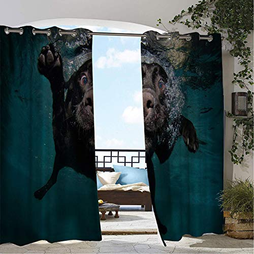 (Linhomedecor Balcony Waterproof Curtains Dog Swimm g Dog Paddle doorways Grommet Privacy Curtains 84 by 84 inch)