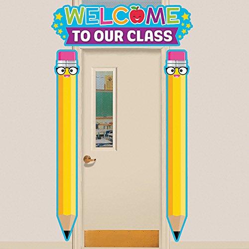 Fun Express - First Day of School Door Border - Educational - Classroom Decorations - Classroom Decor - 3 Pieces ()