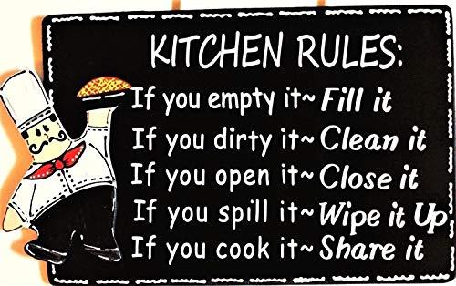 Fat Chef Kitchen Rules Sign Wall Art Hanger Plaque Cucina Bistro Wood Decor Home Decor tokomillcrafty