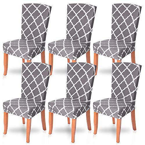 SearchI Dining Room Chair Covers Slipcovers Set of 6, Spandex Fabric Fit Stretch Removable Washable Short Parsons Kitchen Chair Covers Protector for Dining Room, Hotel, Ceremony (Gray, 6 per Set)