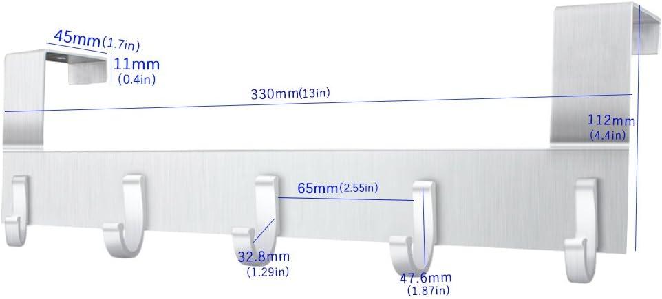 Anjuer Perchero para Puerta Colgadores de Puerta Aluminio Percha de Ba/ño Gancho de Ba/ño para los dormitorios ba/ños armarios gabinete 6 Ganchos