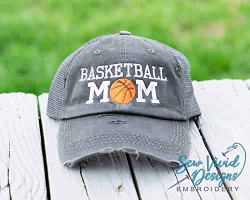 Basketball Mom Distressed High Ponytail Baseball or Trucker Cap