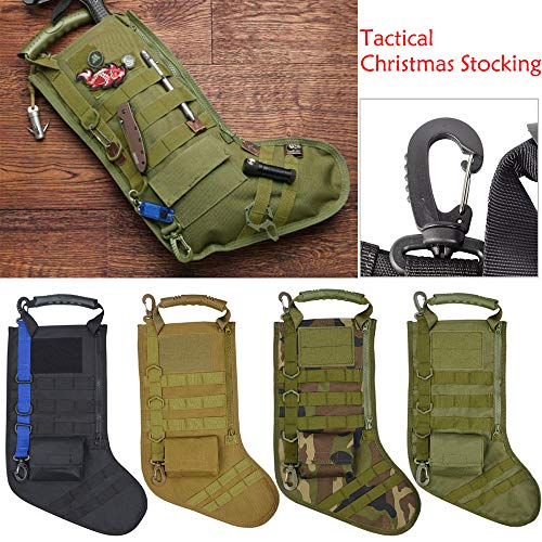 LtrottedJ Tactical Christmas Stocking Molle Military Christmas Stocking Desert Woodland (Green)