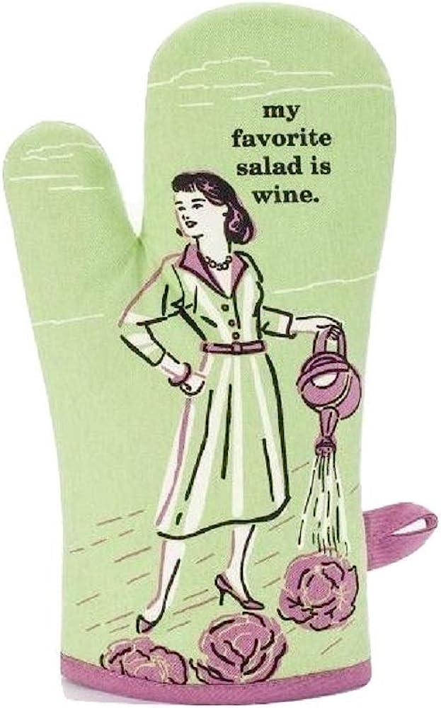 BlueQ My Favorite Salad is Wine Oven Mitt