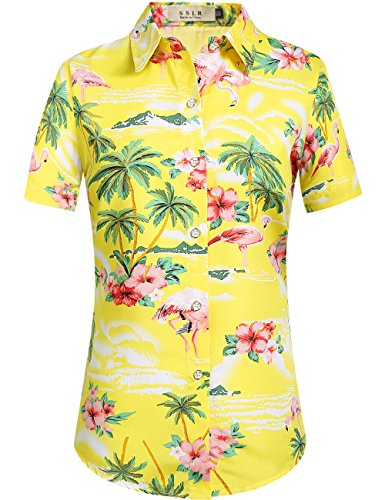 SSLR Women's Flamingos Floral Casual Short Sleeve Hawaiian Shirt (X-Small, Bright Yellow) ()