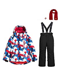 Boys Ski Jacket Pants Snow Suit Windproof Waterproof Winter Coats (US 4 - US 16)