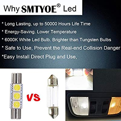 SMTYOE White 29mm Festoon Led Bulb 3-SMD 5050 Chipsets 6614F 6612F for Car Interior Vanity Mirror Sun Visor Lights (pack of 4): Automotive