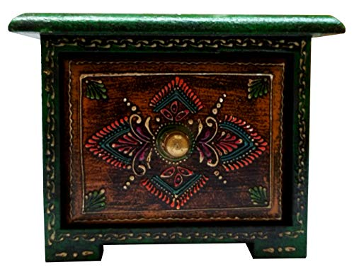 Purpledip Wooden Box: Hand-Painted 1-Drawer Square Box for Jewelry or Keys ()