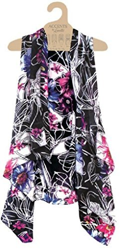Alora Accents Sheer Designer Vest, Blue & Fuchsia Floral, One Size