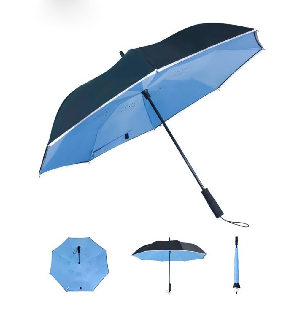 Long Handle Umbrella Safe Reflective Stripe Creative Double Cloth Umbrella With Warning Mark (Color : Blue)