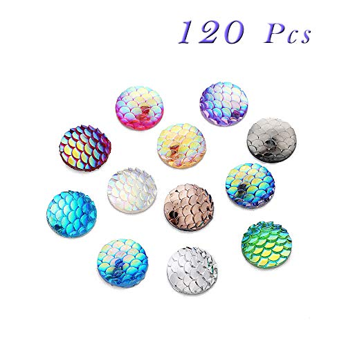 Sparkly Mermaid Scales Cabochons Resin Shining Fish Skin, Beads Arts Craft Jewelry Supply, Round Flat Back, 12mm, 120Pcs(Mixed Color)