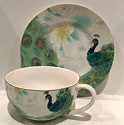 222 Fifth Peacock Lakshmi Fine Porcelain Multi-Purpose Large Cup & Saucer (doubles as Bowl & Plate)