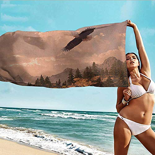 (Beach Chair Towel,Eagle Nature Photography of Rocky Mountains and Forest with a Bald Eagle Flying Over It,Home Hotel Office Washcloths,W63x31L, Rose Green)