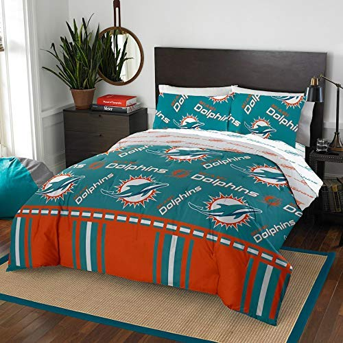 The Northwest Company NFL Miami Dolphins Queen Bed in a Bag Complete Bedding Set #407365429