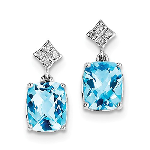 Perfect Jewelry Gift Sterling Silver Rhodium-plated Blue Topaz and Diamond Earrings