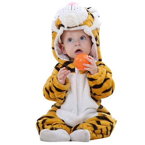 OSEPE Unisex-baby Flannel Romper Animal Onesie Pajamas Outfits Suit Tiger Size100]()
