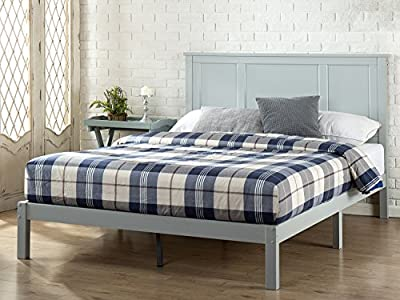 Zinus Solid Wood Country Style Platform Bed with Headboard / No Box Spring Needed / Wood Slat Support