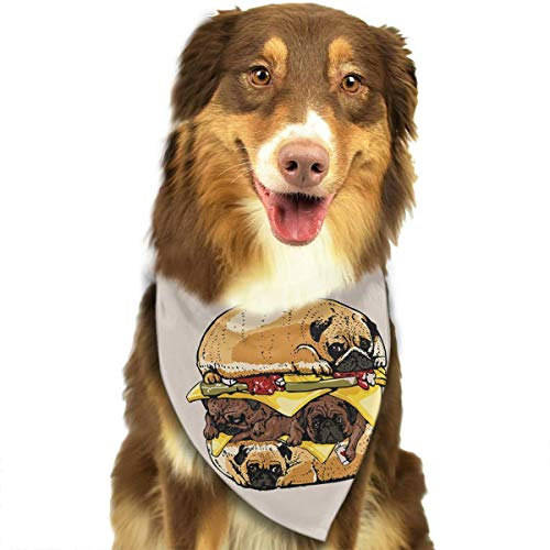 OURFASHION Pug Hamburger Bandana Triangle Bibs Scarfs Accessories for Pet Cats and Puppies.Size is About 27.6x11.8 Inches -