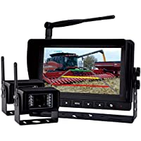 Rear View Backup Camera System, 7 Digital Wireless Split LCD Monitor with Two Wireless Waterproof Ir Color Cameras for Excavator, Cement Truck, Farm Tractor, Trailer, 5th Wheel, Rv Camper, Heavy Truck