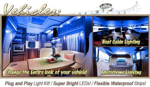 Biltek 3.3' ft Blue Motorhome RV Night Light Remote Controlled LED Strip Lighting SMD3528 Wall Plug - Motorhome Boat Cabin Lighting, Yacht Compartment Lighting, Interior Waterproof DIY 110V-220V