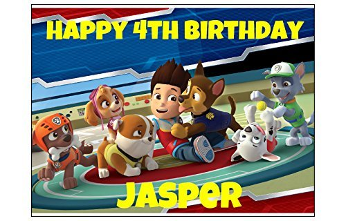 PAW PATROL EDIBLE IMAGE CAKE TOPPER DECORATION PARTY Personalized Birthday dog