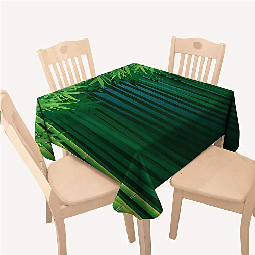 All of better Exotic Dinning Tabletop Decoration Stems with Leaves Exotic Lands Fantasy Zen Garden Ecology ThemeApple Green Dark Green Blue Square Tablecloth W60 xL60 inch