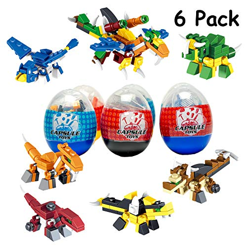 6 Pack Dinosaur Toy| Mini Building Blocks Dino STEM Toys|2 in 1 Surprise Egg with 52Pcs Building Bricks Toys. Party Favor for Kids, Goodie Bags, Birthday, Carnival Prize, Easter, BOYS, Girls, Toddlers -