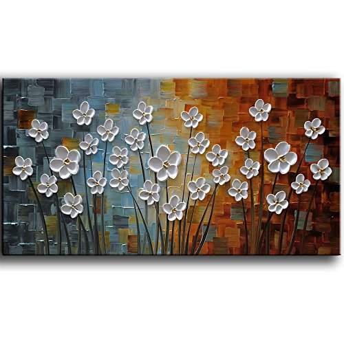 - YaSheng Art - 100% Hand painted Contemporary Art Oil painting On Canvas white Flowers Abstract Paintings Modern Home Decor Wall Art for living room Bedroom Framed Ready to Hang 20x40inch