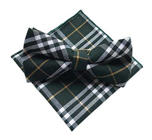 Elfeves Mens Green White Yellow Woven Plaids Business Formal Bow Ties for Gift