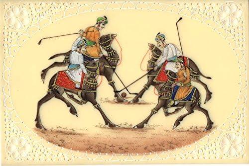 Rajastán camello polo miniatura Arte hecho a mano en India Royal ...
