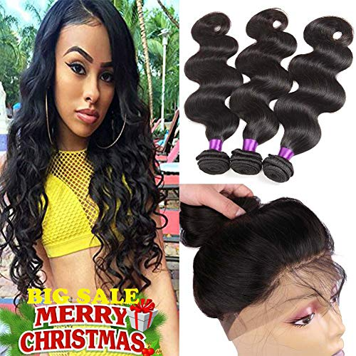Indian Virgin Hair 360 Lace Frontal with Bundles Body Wave 8A Indian Virgin Hair Body Wave Hair Bundles with 360 Frontal Closure Body Wave (22 24 26 +20 360frontal