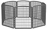 IRIS 34'' Exercise 8-Panel Pet Playpen without Door, Dark Gray