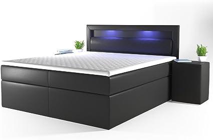 OSKAR Cama con somier de diseño con luces LED, colchón de muelles Bonell, cama de matrimonio, cama de hotel, cama de matrimonio, 180 x 200 cm, color ...