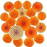 Cocodeko Hanging Paper Fan Set, Tissue Paper Pom Poms Flower Fan and Honeycomb Balls for Birthday Baby Shower Wedding Festival Decorations - Orange