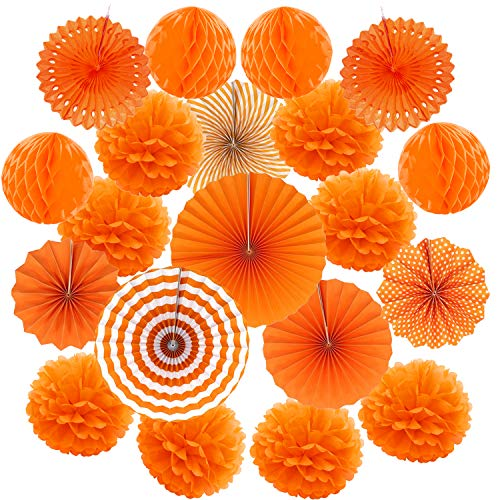 Cocodeko Hanging Paper Fan Set, Tissue Paper Pom Poms Flower Fan and Honeycomb Balls for Birthday Baby Shower Wedding Festival Decorations - Orange ()