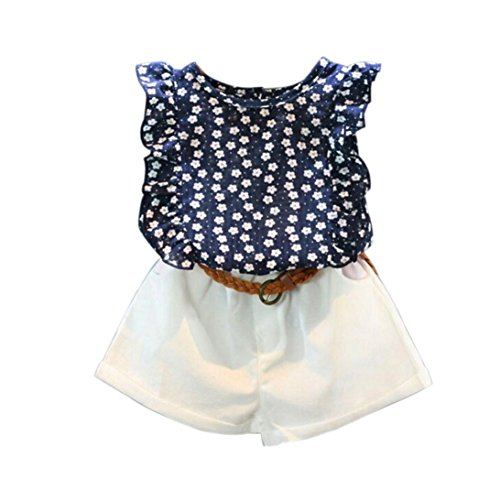 Old Navy Kids Clothes - 3PCS Toddler Kids Little Girls Summer Outfit Clothes, T-shirt Tops+Shorts Pants+ Belt (Navy, 3-4Years)