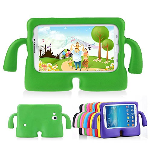 Lioeo Samsung Tab 3 Cases for Kids 3D Cute Cartoon Carrying Child Case for Samsung Galaxy Tablet 3 /3 Lite 7.0 In NOT Fit For 8 Inch (Green)
